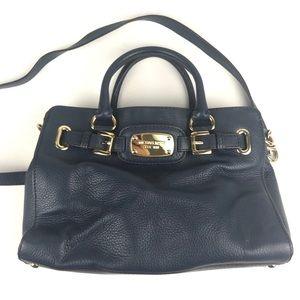 Michael Kors Hamilton Bag Navy Pebble Leather